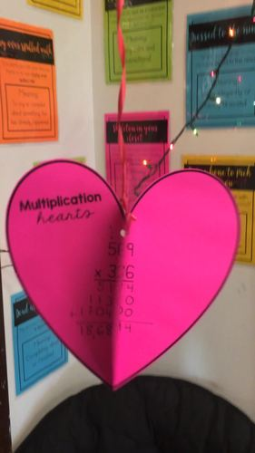 3 by 2 Digit Multiplication Valentine's Day Heart Craft & Activity