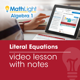 Literal Equations Video Lesson with Guided Notes | Good fo