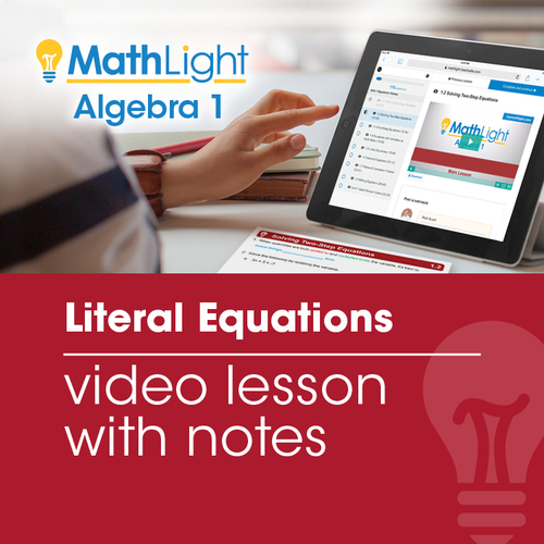 Literal Equations Video Lesson with Guided Notes | Good for Distance Learning