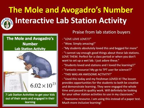 The Mole and Avogadro's Number - 7 Engaging Lab Stations