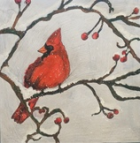 Red Cardinal in Winter Virtual Drawing