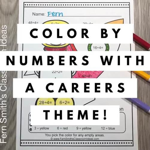 Color By Number Divide By 2 and 4 Careers - Community Helpers