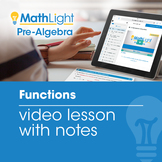 Functions Video Lesson with Student Notes | Good for Dista