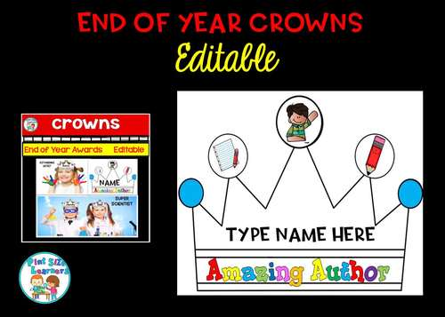 End of Year Award Crowns Editable