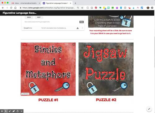 Figurative Language DIGITAL Escape Room: Using Google Suite