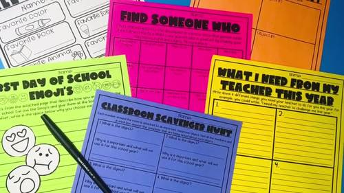 Back to School and First Week of School Activities