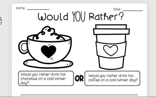 5 Day of Opinion Writing - Would You Rather, WINTER