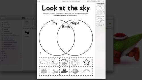 Day And Night Sky Picture Sort  Venn Diagram  By Porter U0026 39 S Classroom