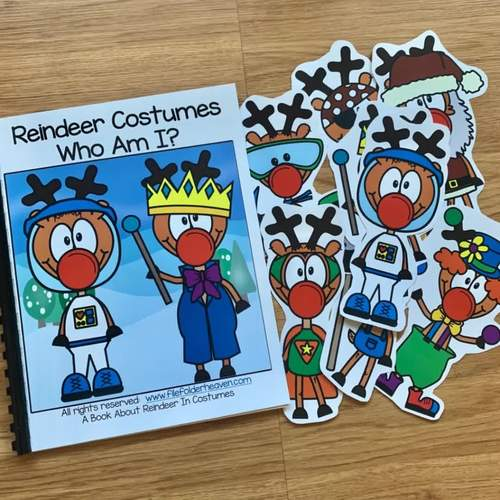 """Christmas Adapted Book:  """"Reindeer In Costumes:  Who Am I?"""""""