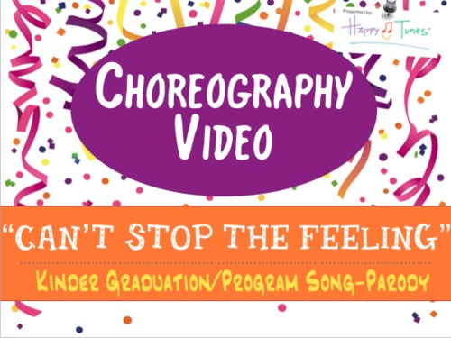"""Choreography VIDEO for """"Can't Stop the Feeling"""", K Pre-K graduation song. Trolls"""