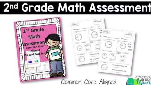 2nd Grade Math Assessments {Pre and Post Tests} Distance Learning