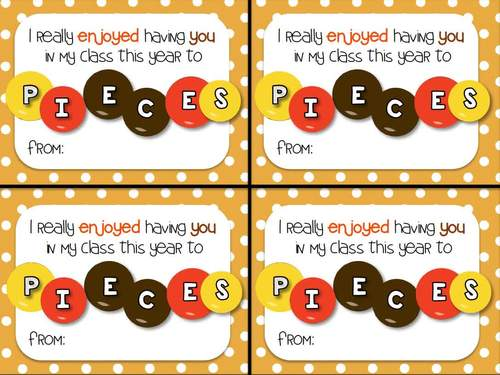 Reeses Pieces End Of Year Gift Tag By Highs And Lows Of A Teacher
