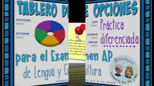 AP Spanish Practice Reading Writing Listening Speaking  Choice Board