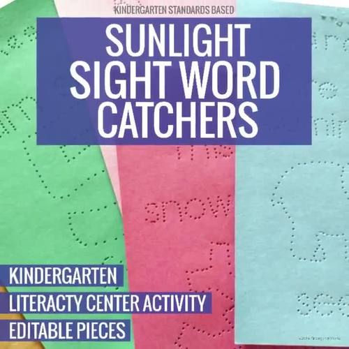 Sunlight Sight Word Catchers Pokey Pinning Literacy Center Activity Kindergarten