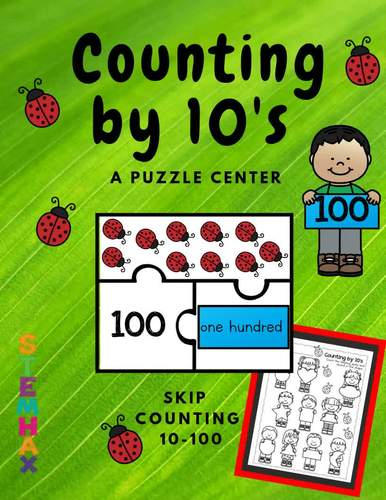 Counting by 10's Tens Center Puzzle Counting Ladybug Spots
