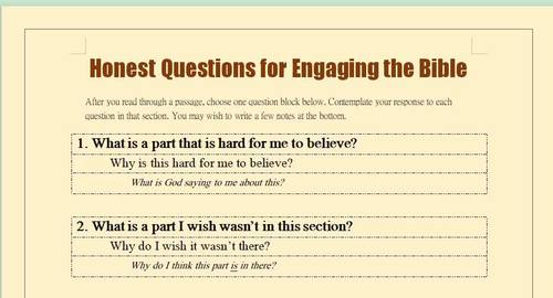 Honest Questions for Engaging the Bible-Reflection Questions and Notes