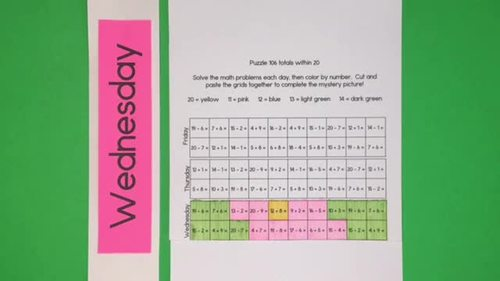 Spring Days Addition and Subtraction within 20 daily math facts