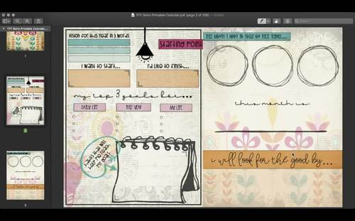 Vintage Boho Simple Monthly Planner