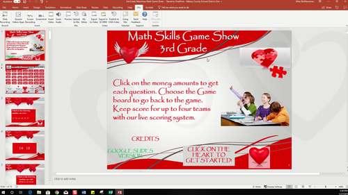 3rd Grade Valentines Math Game Show
