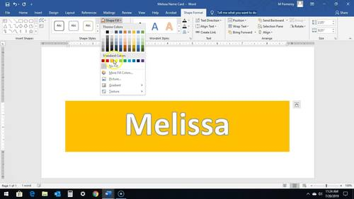Shapes, Images and Page Orientation in Word 2016  Make a Name Card