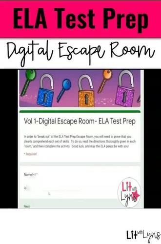 ELA REVIEW/TEST PREP- DIGITAL ESCAPE ROOM- VOL. 1  |  DISTANCE LEARNING