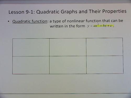 Algebra 1 Flipped Classroom - Chapter 9:  Quadratic Functions and Equations