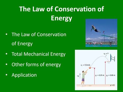 The Law of Conservation of Energy - A Physics PowerPoint Lesson & Note