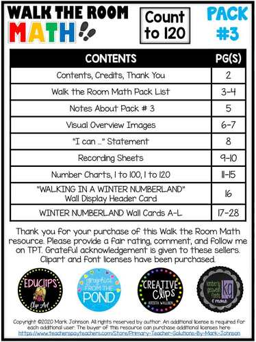 Walk the Room Math Pack 3: Winter Numberland Puzzles: Count to 120 (1.NBT.1.A)