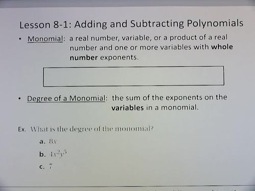 Algebra 1 Flipped Classroom - Chapter 8: Polynomials and Factoring