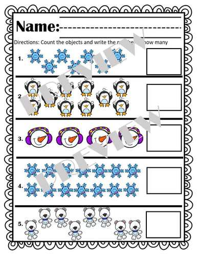 Winter Counting to 20! Bonus Color Words