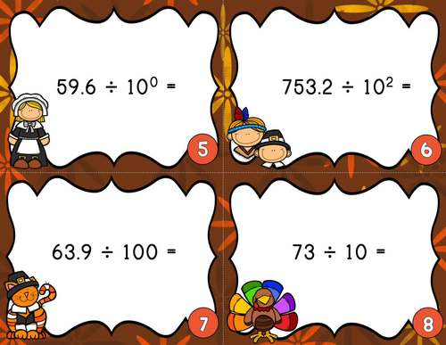 Thanksgiving Dividing Decimals by Powers of 10 Task Cards