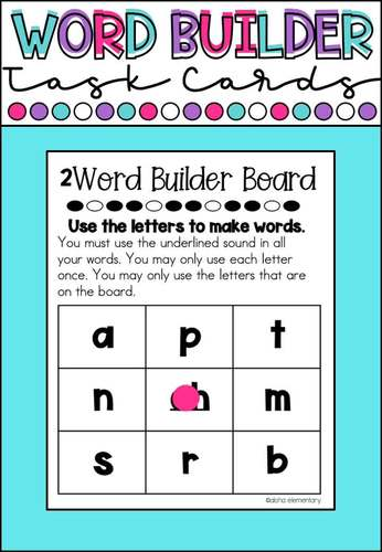 Digraph word building task cards
