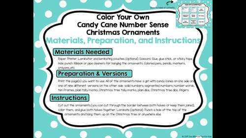 Color Your Own Candy Cane Number Sense Christmas Ornaments 0-10