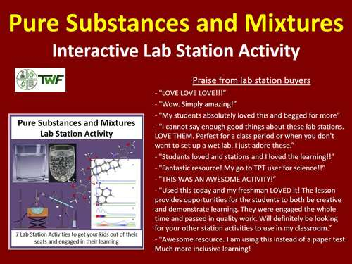 Pure Substances and Mixtures - Lab Station Activity