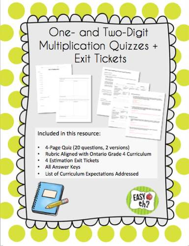Grade 4 Multiplication Quiz and Exit Ticket Assessment Bundle