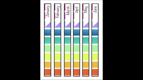 EDITABLE Binder Labels Rainbow Stripes Design Months of the Year