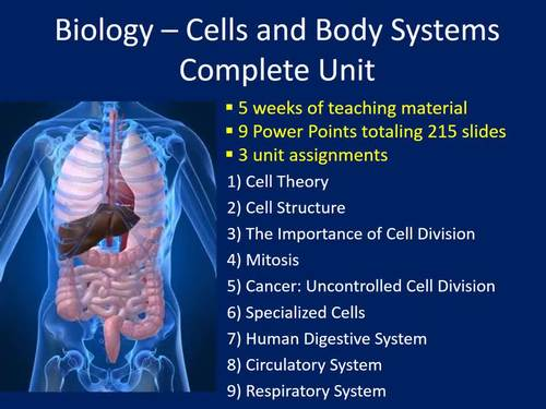 Biology Complete Unit: Cells and Body Systems - Lessons and Worksheets