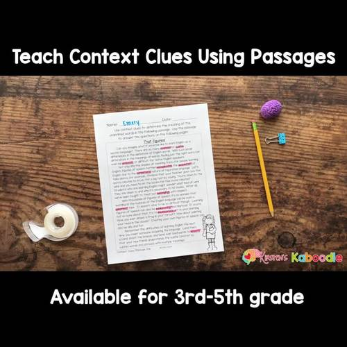 Context Clues Passages with Worksheets & Anchor Charts - 3rd-5th grade