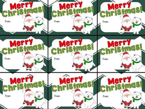 Cute Printable Merry Christmas Gift Tag