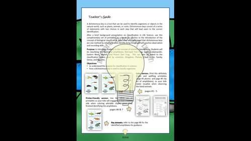 Science: The Dichotomous Key of Amphibians Worksheet