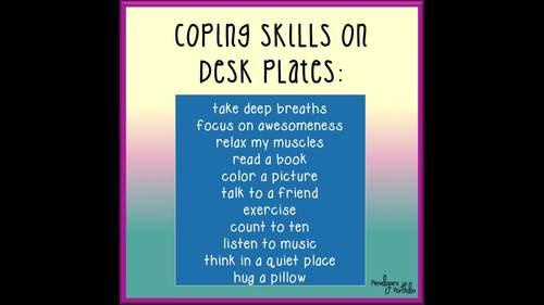 Desk Plates / Name Plates - Coping Skills, Unicorn Chalkboard Theme