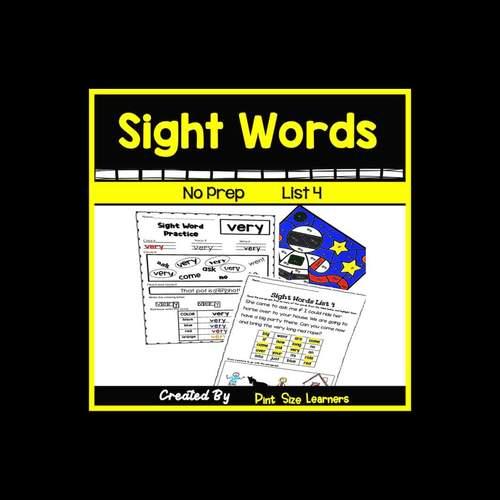 Sight Word Practice | Center Activity & Worksheets | List 5 | K - 1st