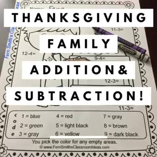 Thanksgiving Color By Number Addition and Subtraction Bundle