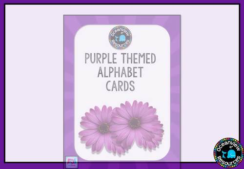 Purple themed Alphabet Posters with Pictures, Ideal for Bulletin Boards