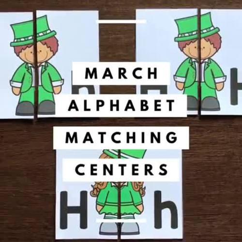 Alphabet Matching Literacy Center Easy Prep Uppercase & Lowercase March Bundle