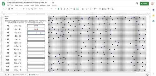 Christmas Math Distributive Property PIXEL ART (Made for Google Drive)
