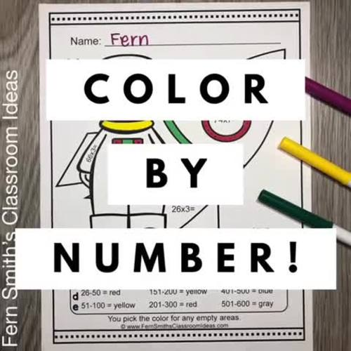Color By Numbers Careers MORE 2-Digit by 1-Digit Multiplication