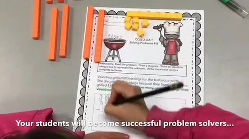 AUGUST - 2ND GRADE MATH WORD PROBLEMS IN ENGLISH - CCSS 2.OA.1