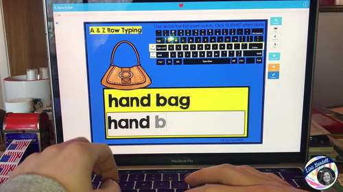 Beginning Typing Practice: Middle & Bottom Row Words (A & Z Rows) BOOM CARDS