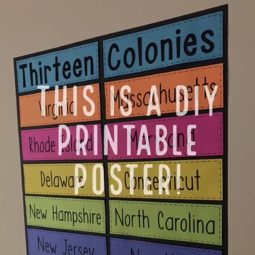 The 13 Colonies - Large Printable DIY Poster or Bulletin Board - Classroom Decor